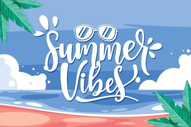 Hallo zomer belettering met strand en palmbomen