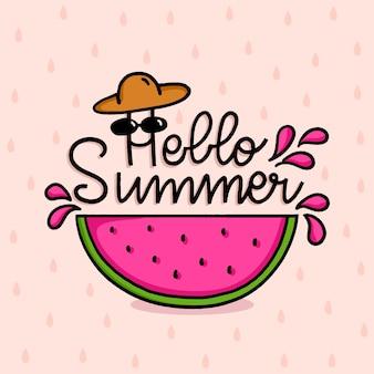 Hallo zomer belettering met watermeloen