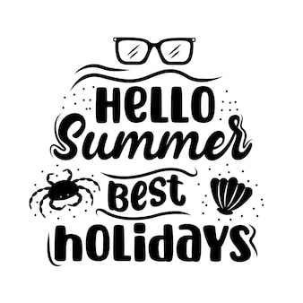 Hallo zomer belettering met zomer pictogrammen. zomerbanner