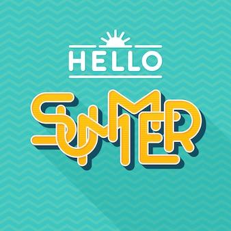 Hallo zomer belettering. stijl . letters met lange schaduw. illustratie. sjabloon voor spandoek, poster, flyer, kaart, briefkaart, omslag, brochure.