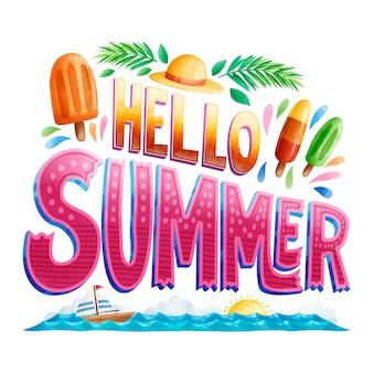 Hallo zomer belettering zonnige dag