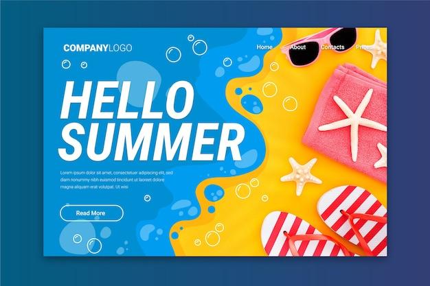 Hallo zomer bestemmingspagina ontwerp