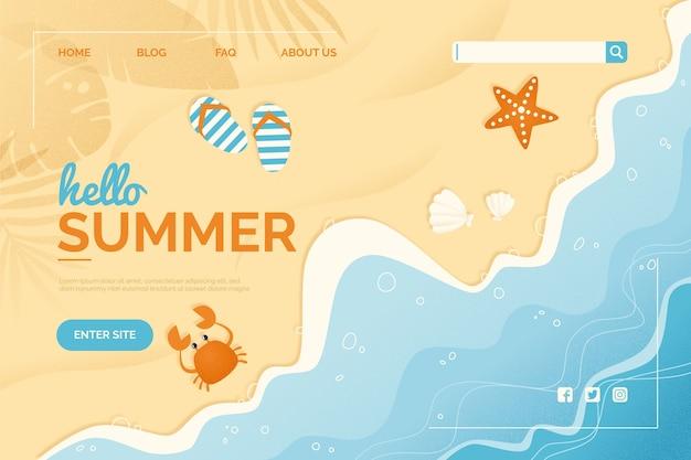 Hallo zomer bestemmingspagina sjabloon