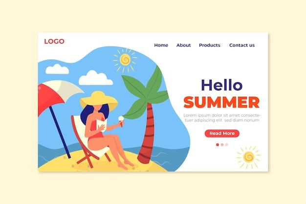 Hallo zomer bestemmingspagina vrouw en strand