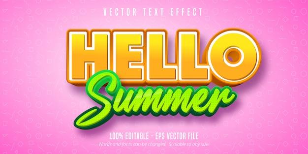 Hallo zomer bewerkbaar teksteffect