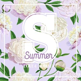 Hallo zomer bloemdessin met bloeiende witte pioenroos bloemen. botanische achtergrond voor poster, banner, huwelijksuitnodiging, wenskaart, t-shirt. vector illustratie