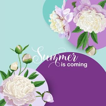 Hallo zomer bloemdessin met bloeiende witte pioenroos bloemen. botanische achtergrond voor poster, banner, huwelijksuitnodiging, wenskaart, verkoop. vector illustratie