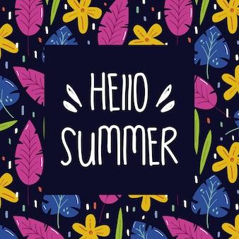 Hallo zomer. bloemen zomer frame