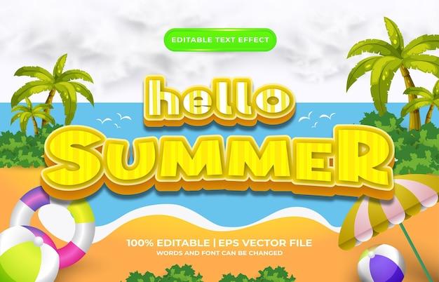 Hallo zomer cartoon 3d bewerkbare teksteffect sjabloonstijl