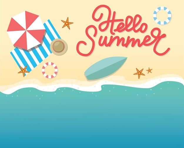Hallo zomer concept vectorillustratie bovenaanzicht van beach