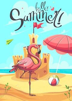 Hallo zomer de vector cartoon afbeelding achtergrond