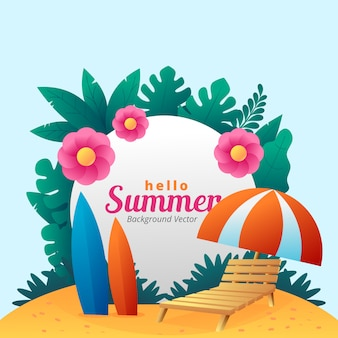 Hallo zomer eenvoudige achtergrond vector