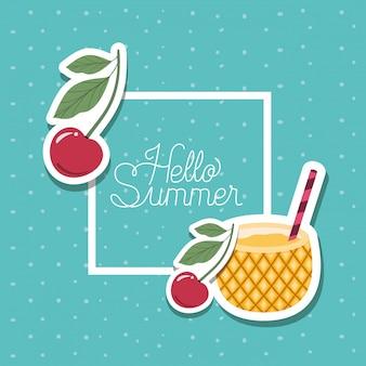 Hallo zomer en vakantie stickers ontwerpen