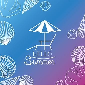 Hallo zomer- en vakantiesilhouetontwerp