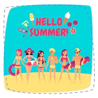 Hallo zomer. gezelschap van jonge mensen op het strand
