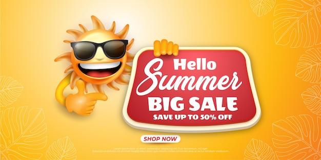 Hallo zomer grote verkoopbanner met illustratie van het zonkarakter