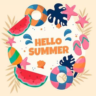 Hallo zomer hand getekend behang