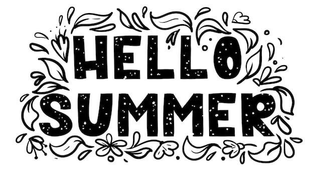 Hallo zomer handgeschreven letters met bloemen geïsoleerd op wit vectorillustratie voor poster