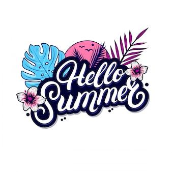 Hallo zomer handgeschreven letters met palm en monstera bladeren.