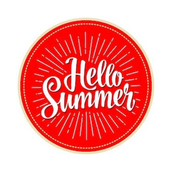 Hallo zomer handgetekende letters met stralen. vector kleur illustratie. geïsoleerd op groene cirkel.