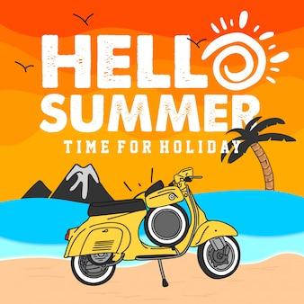 Hallo zomer illustratie met vespa