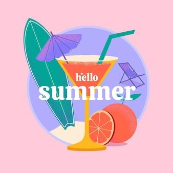Hallo zomer illustratie