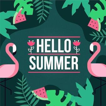 Hallo zomer in vlakke stijl