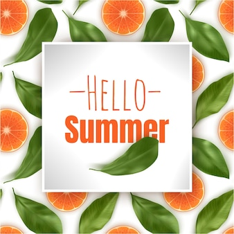 Hallo zomer, inscriptie met sinaasappels en bladeren.