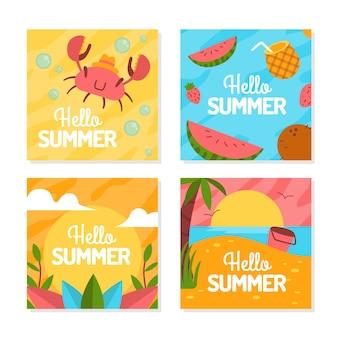 Hallo zomer instagram-berichten ingesteld