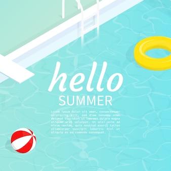 Hallo zomer isometrische zwembad drijven beach bal vector