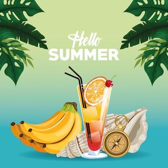 Hallo zomer kaart kaart in cartoon stijl
