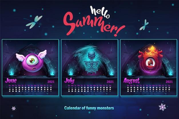 Hallo zomer, kalender 2021, zomer. juni juli augustus.
