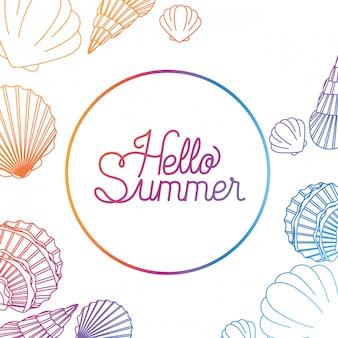 Hallo zomer label met kleurrijke afbeelding