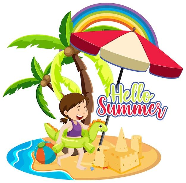Hallo zomer lettertype met een meisje op het eiland geïsoleerd