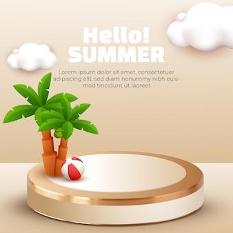 Hallo zomer met 3d podium kokospalm en wolk voor zomerbanner social media sjabloon post