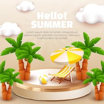Hallo zomer met 3d podium kokospalm en wolk voor zomerbanner