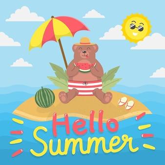 Hallo zomer met beer op eiland eten watermeloen