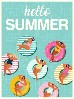 Hallo zomer met gils op opblaasbare zwemring in zwembad drijft achtergrond