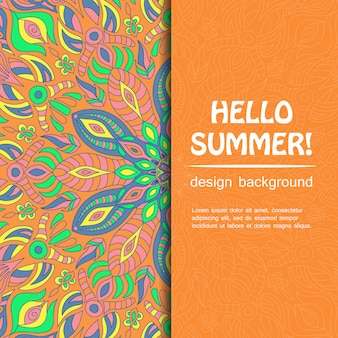 Hallo zomer met mandala-ontwerp. etnische achtergrond.