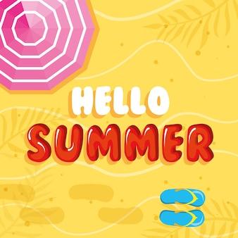 Hallo zomer met paraplu en slippers vector. zomerbanner