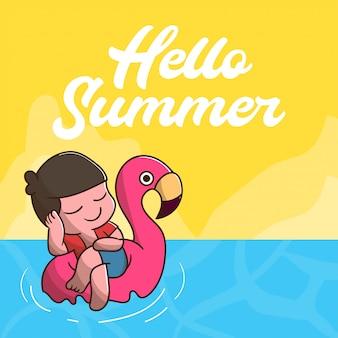 Hallo zomer met schattige jongen