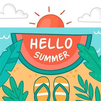 Hallo zomer met strand en slippers