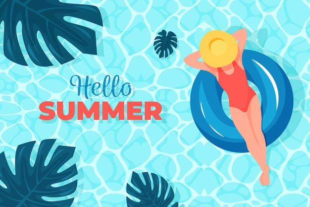Hallo zomer met vrouw op water en bladeren