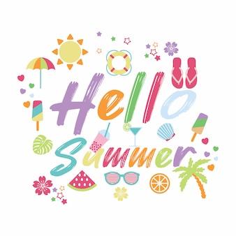 Hallo zomer met zomer elementen
