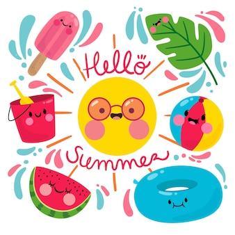 Hallo zomer met zon en watermeloen