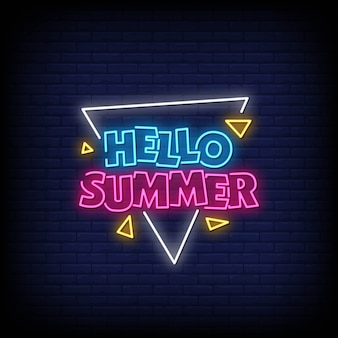 Hallo zomer neonreclames stijltekst