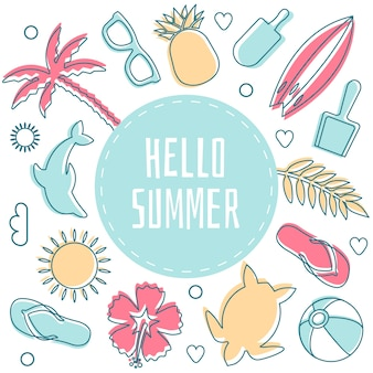 Hallo zomer omringd door strandobjecten