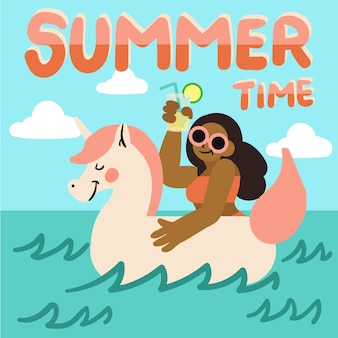 Hallo zomer ontwerp met illustratie
