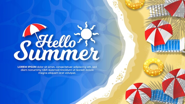Hallo zomer op het strand banner