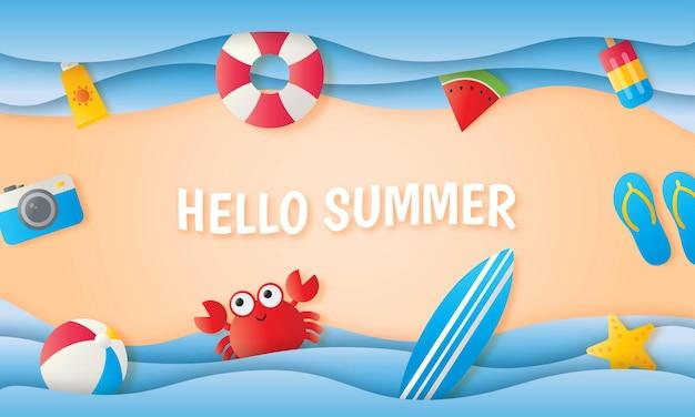 Hallo zomer op zee achtergrond papier kunststijl